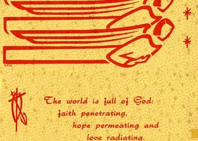 Christmas card designed by Sr. Frances Venard Lotito, MM