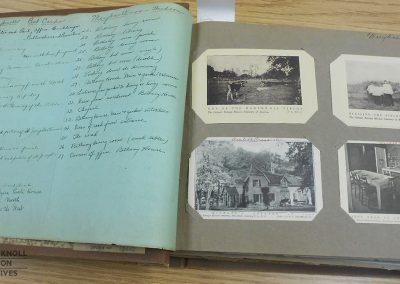An old scrapbook of postcards depicting early scenes from Maryknoll, NY