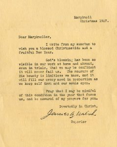 Christmas Letter from James A Walsh