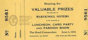 Long Island Maryknoll Committee Fashion Show Door Prize Ticket, 1951