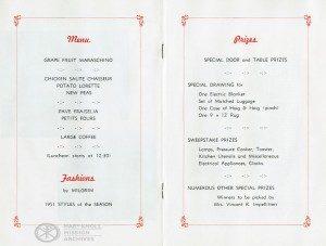 Long Island Maryknoll Committee Fashion Show Menu, 1951