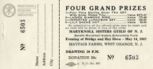 New Jersey Guild, Prize Ticket, 1962