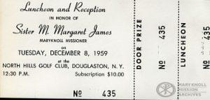 Sr Margaret James Reception, Prize Ticket, 1959