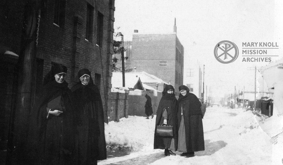 Sisters brave the snow in Shingishu, Korea, 1938