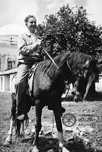 Fr. Paul Sommer MM and his horse in Jacaltenango, Guatemala