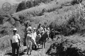 Maryknoll Sisters on horseback en route to Jacaltenango, Guatemala
