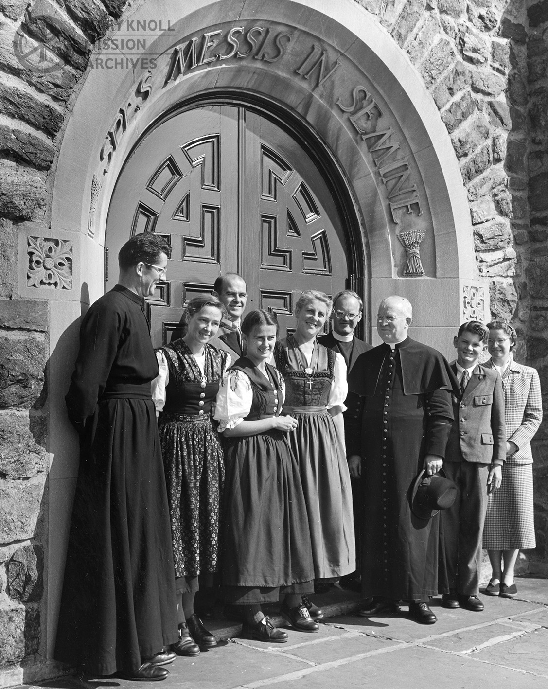 Members of the Von Trapp Family Singers with Maryknoll's Superior General, Bishop Raymond Lane, October 1951