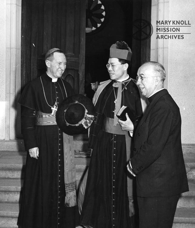 Fr. John Murrett MM leads papal legate Cardinal Gilroy and Monsignor Furuya of Kyoto into St. Francis Xavier Church in Kyoto, 1949