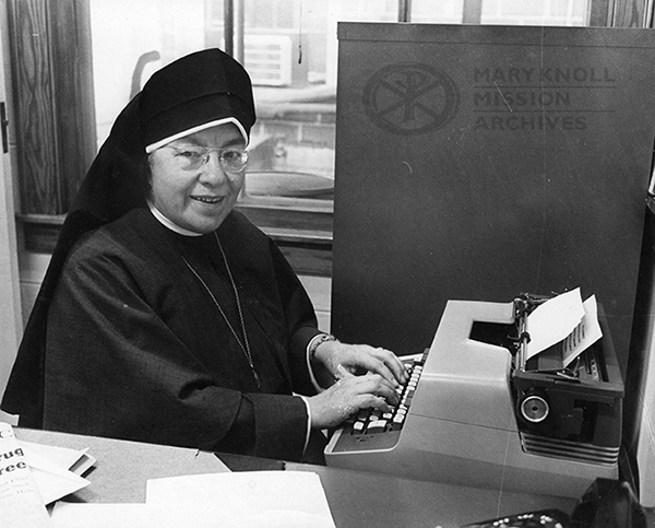 Sr. Maria del Rey Danforth MM, author of Pacific Hopscotch, in her office at Maryknoll