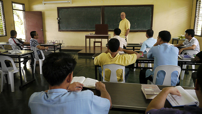 Fr. LaRousse teaching at St. Francis Seminary in the Philippines