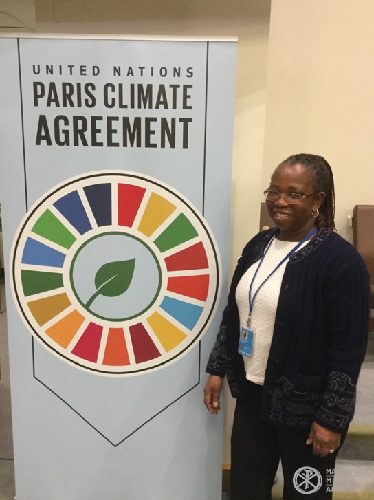 Sr. Claris Zwareva MM at the UN headquarters in New York City at the signing of the Paris Climate Agreement