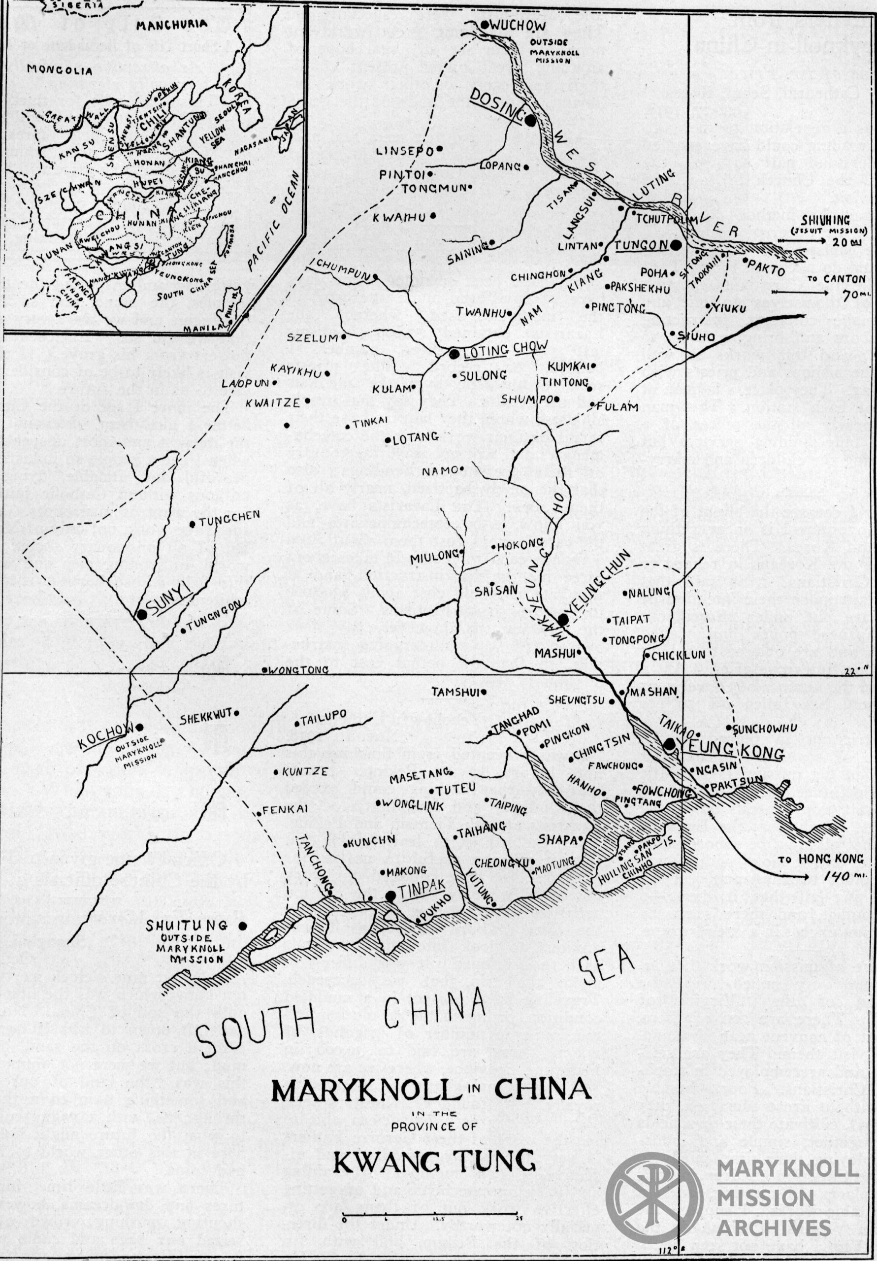 Map of Maryknoll's missions in China, 1919