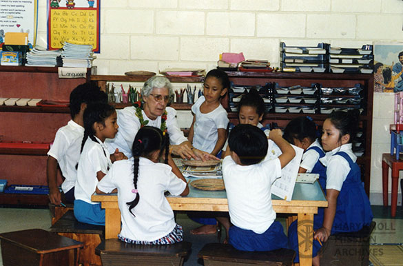 Sr. Marilyn Evans at a Montessori school in American Samoa