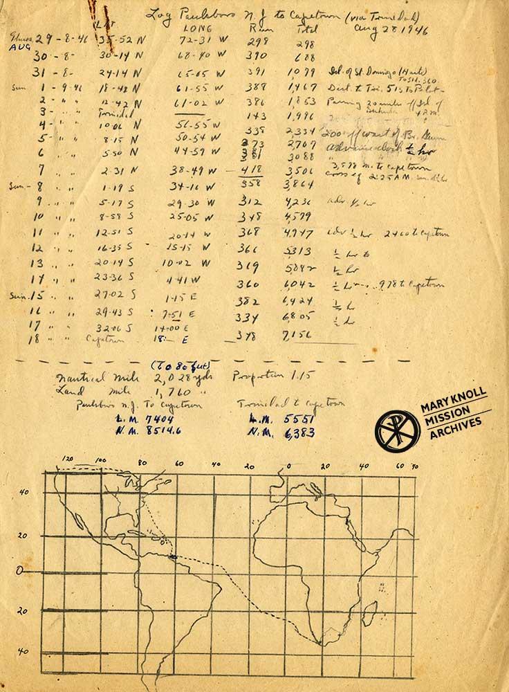 "Father Louis Bayless' handwritten travelogue - ""Log Paulsboro NY to Capetown via Trinidad 8/28/46"""
