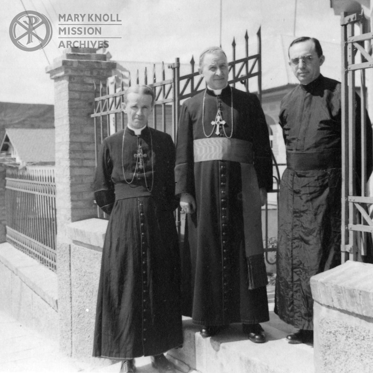 Bishop James E. Walsh, Archbishop Lari, and Father Alonso Escalante, May 1942
