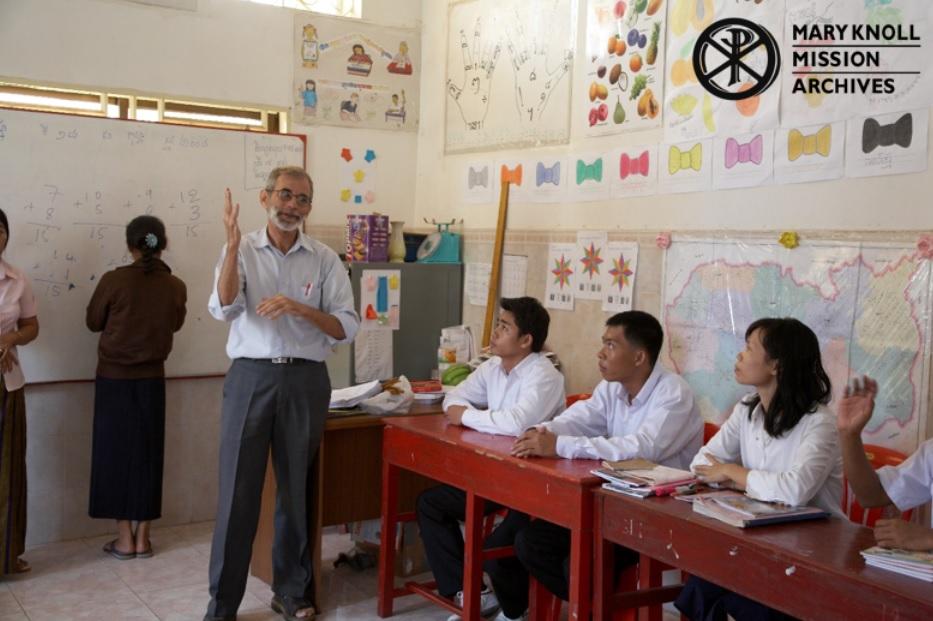 Fr. Dittmeier teaching a sign language class, 2008