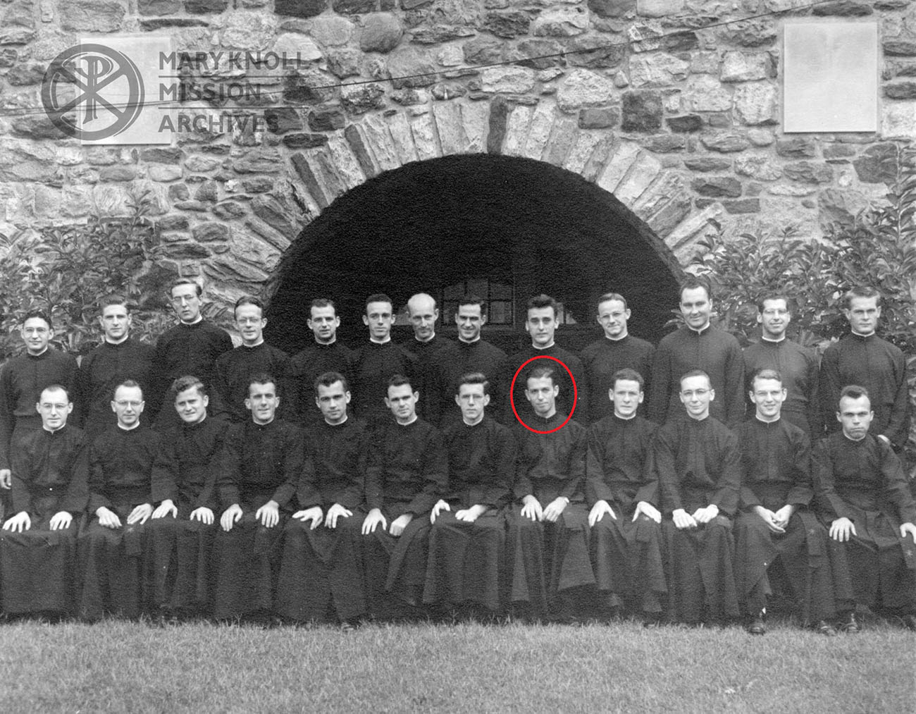 Ordination Class of 1947, Fr. Walter Maxcy circled in red
