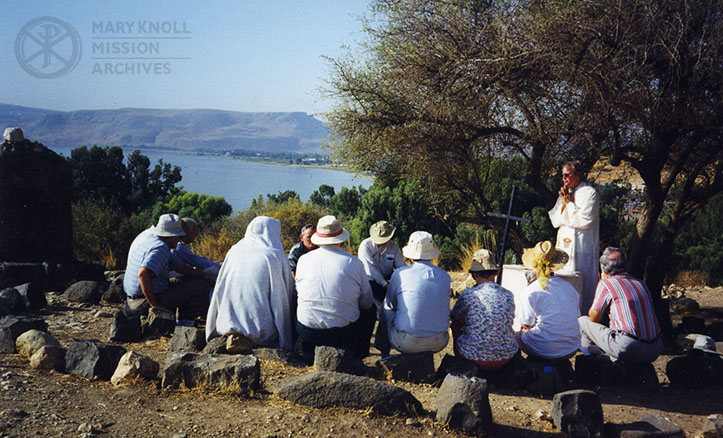 Fr. Jack Sullivan saying Mass in the Holy Land, 1999