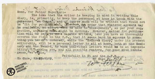 Memo to Fr. Superior on Fr. William O'Shea's 1919 Kochow Diary