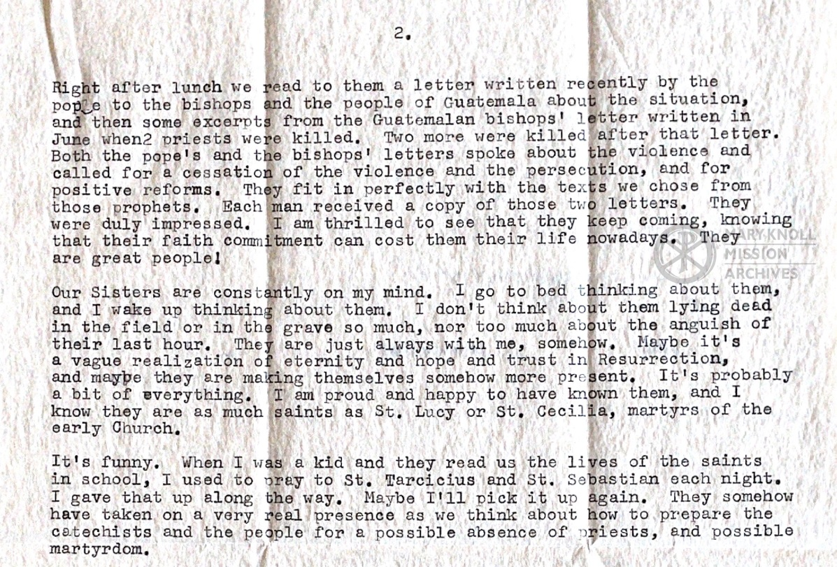 Excerpt from a letter to Sr. Gerry McGinn OP about the violence faced by the poor and religious in Guatemala