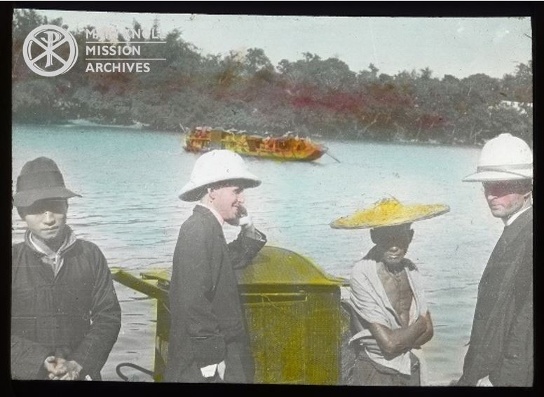 Bishop James E. Walsh and Fr. Daniel McShane on a boat in China