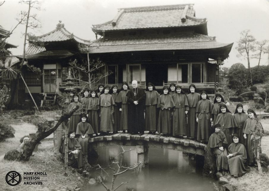 The Sisters at the convent in Kyoto with Bishop Raymond Lane MM, 1951