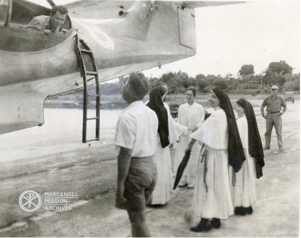 The first Maryknoll Sisters in Palau, 1948: Sr. Emily McIver (facing away), Sr. Loretta Marie Hoffman, and Sr. Camillus Reynolds