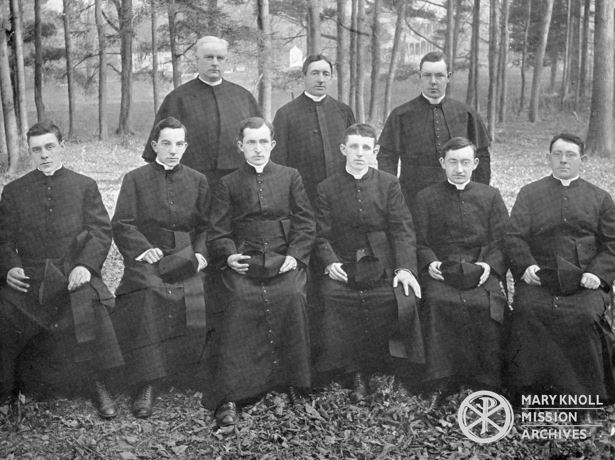 Group of Seminarians with Fr. Walsh. Back row left to right is: Fr. John I Lane, Fr. James A. Walsh, and an unnamed seminarian. Sitting left to right: Alphonse Vogel (left the Society), Francis Ford, Daniel McShane, James E. Walsh, William Lambert (left the Society), and William O'Shea