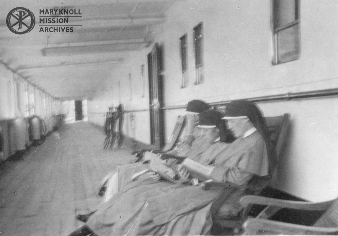 Sisters Lawrence Foley, Rose Leifels, and Barbara Froehlich, En route to China, 1921