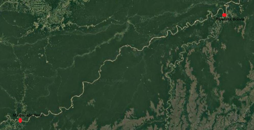 Stretch of the Madre de Dios River, traveled by Fathers McMonigal and Valladon
