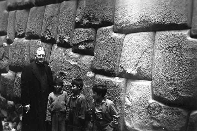 Fr. James Ray visiting Sacsayhuamán in Cuzco, Peru