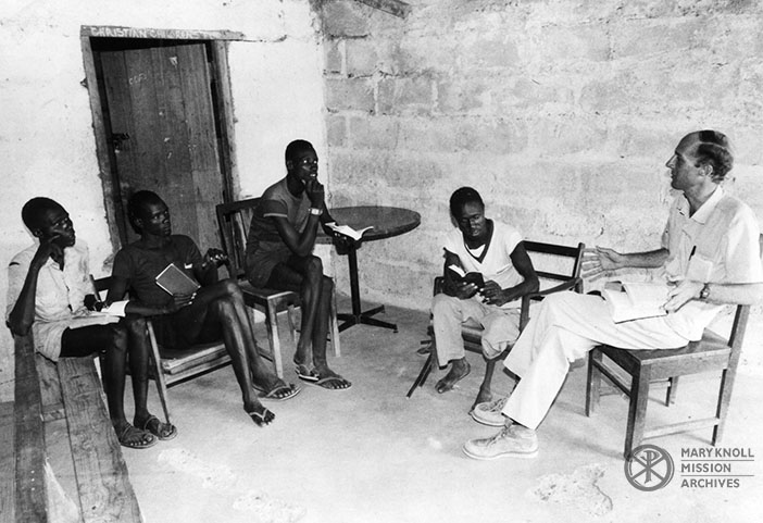 Fr. Steven Scherrer with a Bible study group in Tanzania, 1980s