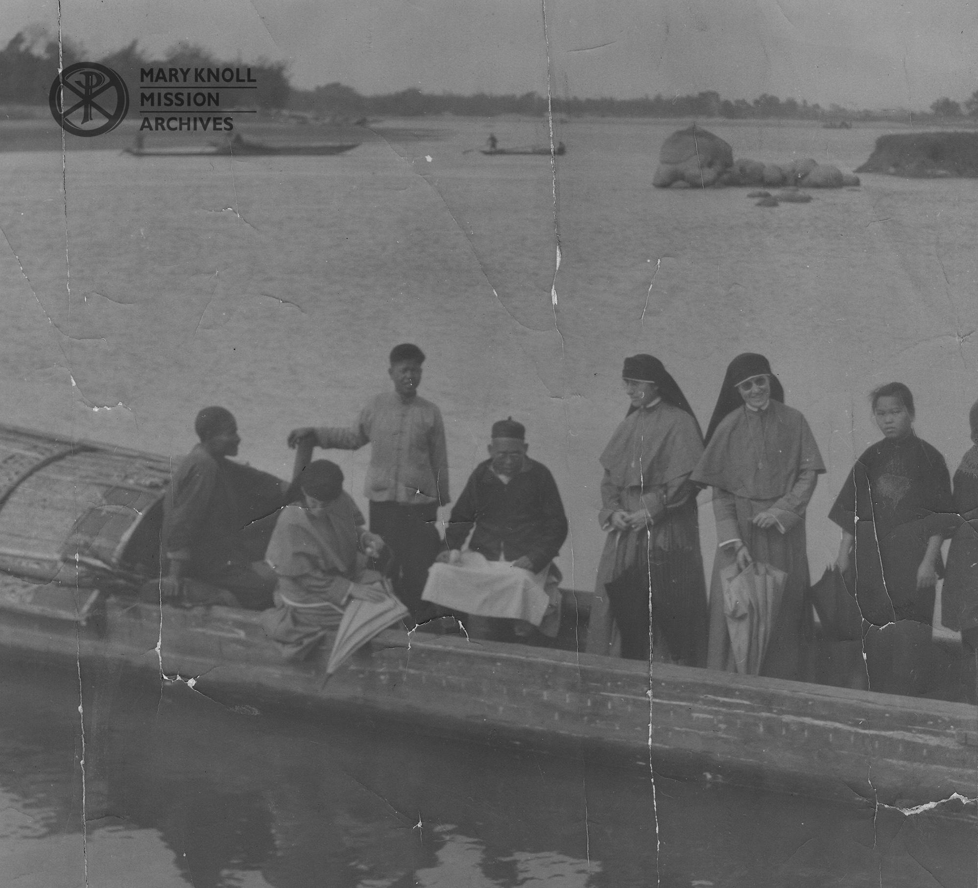 Sister Rose Leifels and Sister Magdelen Doelger on a boat in Luoding, 1925