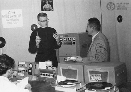 Fr. Leo Sommer in the Radio San Rafael office